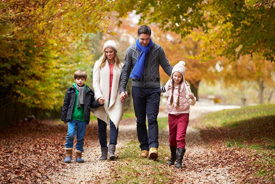 Happy family on walk