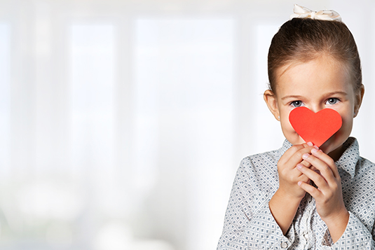 Child with love heart